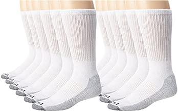 Dickies Men's Dri-Tech Comfort Crew Socks, White, 12 Pair