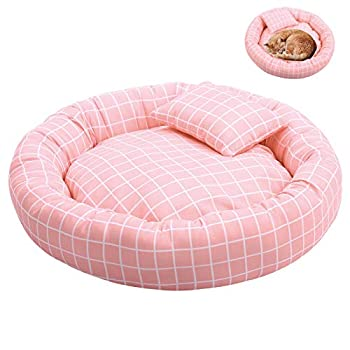 Gameyly Pink Grid Dog Bed Candy-Colored Round Donut Cat Bed for Small Dogs Cats Washable Breathable Pet Bed Round Cat Cushion Bed