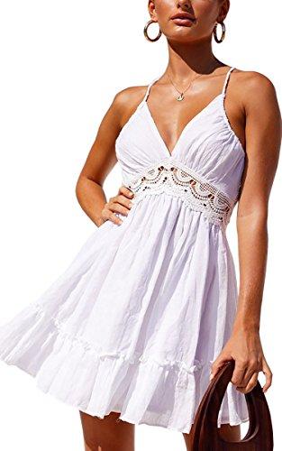 ECOWISH V Ausschnitt Kleid Damen Spitzenkleid Träger Rückenfreies Kleider Sommerkleider Strandkleider Weiß2 L