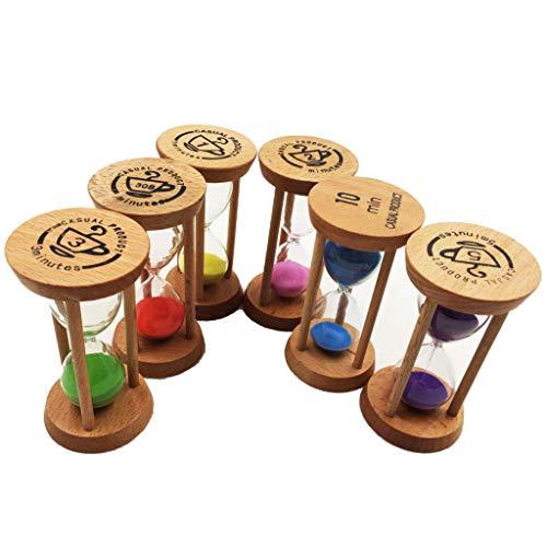 HomeDecTime 6 x Holz Stundenglas Kinder Zahnuhr Sanduhr Zeituhr Eieruhr Küche Eieruhr Set - Runden
