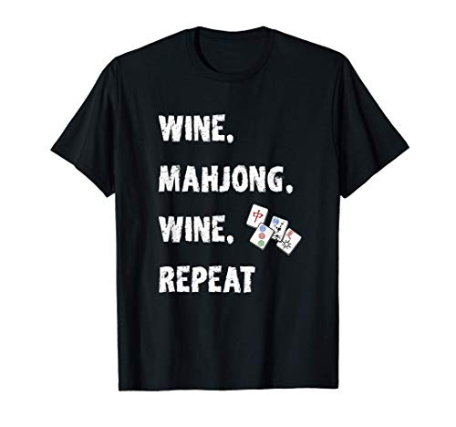 Funny Mahjong Gift Wine Lover Asian Game Love Mah Jong Camiseta