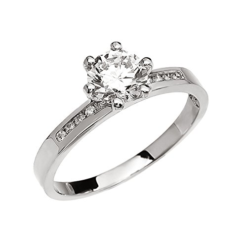 Diamond Channel-Set White 9 ct Gold Engagement Solitaire Ring with 1 Carat White Topaz Center Stone MII