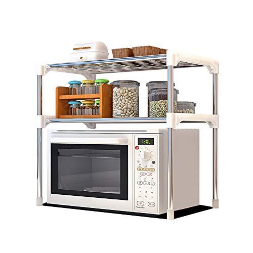 Organizador de 2 niveles de acero inoxidable para microondas, horno, multifuncional, para el hogar, cocina, cuarto de baño, estantería de almacenamiento, contador, armario organizador (plateado)