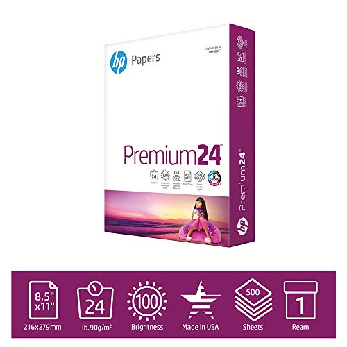 HP Printer Paper 8.5x11 Premium 24 lb 1 Ream 500 Sheets 100 Bright Made in USA FSC Certified Copy Paper HP Compatible 115300R
