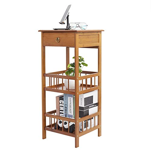 3-Tier Wood Side End Table with Drawer Durable Eco-friendly Bamboo Plant table with Drawer Telephone Table for hallway Vintage Side Table Unit Holder for Living Room Artwork Placement,Indoor Plant