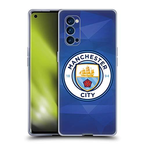 Head Case Designs Oficial Manchester City Man City FC Obsidiana a Todo Color Insignia Geométrica Carcasa de Gel de Silicona Compatible con OPPO Reno 4 Pro 5G