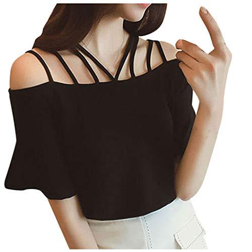 Longra Dames T-shirt, nonchalant, elegant, trompetgreep, modieus, zonder bandjes, tuniek