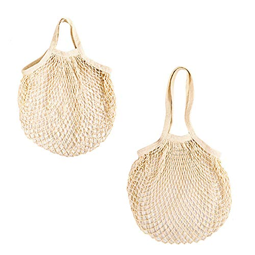 Yiplus Cotton Mesh Produce Bag, 2 Pack Reusable Ecology Washable Organic Shopping Grocery Farmer Market Bags String Net Tote for Vegetables and Fruit with Long/Short Handle (Beige)