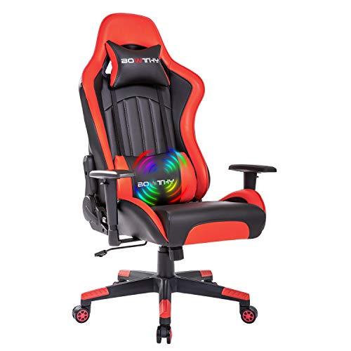 Bowthy Massage Gaming Chair for Adults Computer Ergonomic Game Chair Heavy Duty Big and Tall Gamer Chair Racing Style Headrest and Lumbar Support (Red)
