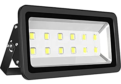 SZPIOSTAR Black 600W Outdoor LED Flood Light, Super Bright 60,000lm, Daylight White 6000K, 50,000hrs Lifetime, Waterproof Lighting Fixtures for Street Billboard Sport Court