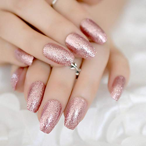 TJJF Rose Gold 24 Full Cover False Nails Superbe Glitter Ballerina Acrylic Nail Tips 12 Tailles Full Coverage Diy Tips with Adhesive