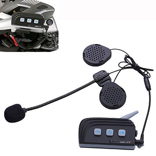 Walkie Talkie Bluetooth para Motocicleta, AUX Full Duplex 4 Personas Motocicleta Inalámbrico Inteligente En Tiempo Real Casco Bluetooth Walkie-Talkie TTS Adecuado para Ciclistas