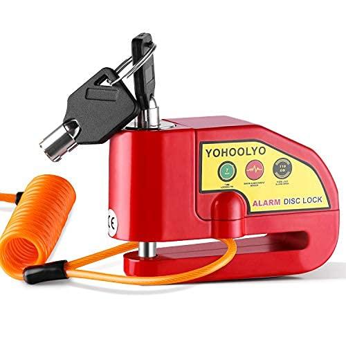 YOHOOLYO Alarm Disc Lock Motorcycle Disc Brake Lock Anti-Theft Waterproof 110 dB 7mm Pin 5ft...