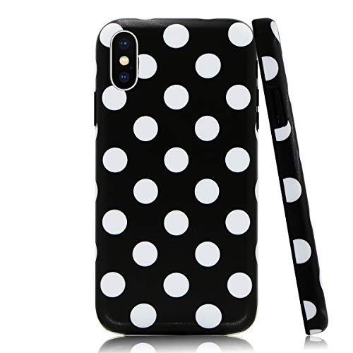Lartin Black White Dots Soft Flexible Jellybean Gel TPU Case for iPhone Xs Max