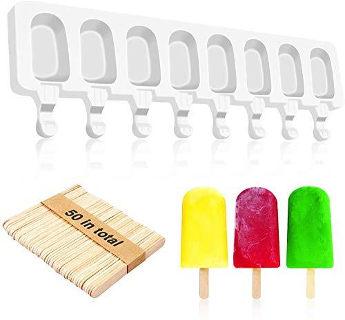 Stampi Ghiaccioli Silicone a 8 Cavità, Stampini per Ghiaccioli con 50 Stecchi Gelato Legno,...