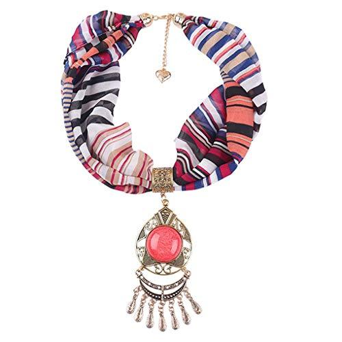 Dorical Damen Schal Halsketten, Schal Perlen Halstuch mit Schmuck/Halskette Modeschmuck Anhänger Schals & Tücher Jahrgang böhmischen Stil mit Schnalle Kette Quasten Schal Halskette(Z01-Q,One Size)