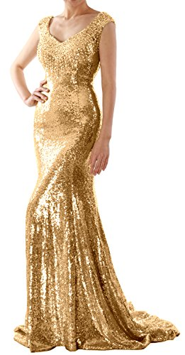 MACloth Women Mermaid Sequin Long Prom Dress Formal Evening Wedding Party Gown (50, Gold)