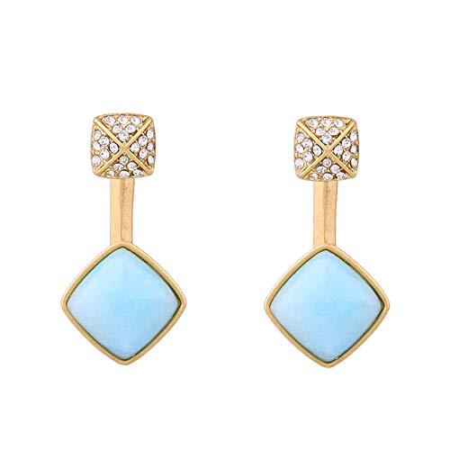 NOBRAND Pendientes De Mujer Moda Mujer Pendiente Azul Claro PerforadoPiedra Sintética Pendiente De Gota Geométrica Corta Joyería