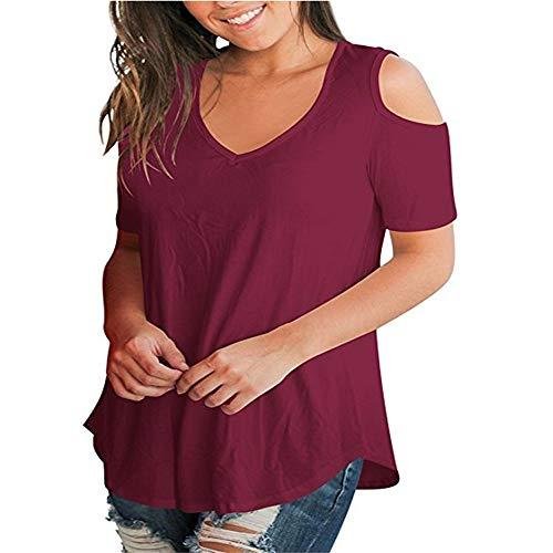 Camiseta Suelta Sin Tirantes De Manga Corta con Cuello En V para Mujer De Primavera Y Verano