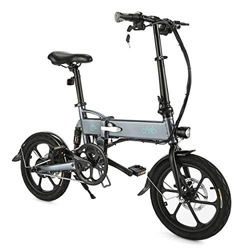 FIIDO Folding EBike, Electric Bicycle Aluminum for Adults with Pedals, 36V/48V Lithium Ion Battery; Electric Bike with Brushless Motor and Dual Disc Mechanical Brakes (Regular Ebike Gray)