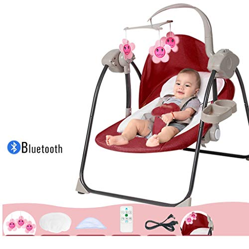 Heay Outdoor Baby Swing,Portable Automatic Swings Bouncer for Baby -3 Swing Speed, Dual Power Use Baby Bouncers for Infants,New Gift for Newborns Little Ones Babies (Color : Red)