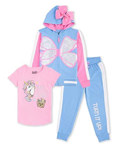 JoJo Siwa Unicorn Graphic Hoodie, Top and Legging, 3-Piece Athleisure Outfit Set - Girls 4-16 (L 10/12, Light Blue/Light Pink)
