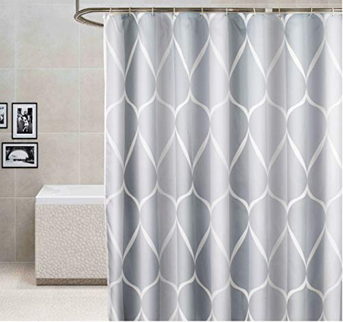 """PLORARY Bath Stall Size Shower Curtain Abstract Smart Waves Design Bath Curtain Polyester Waterproof, Home Non-Toxic Bathroom Curtain Washable with Hooks for Shower, Ombre Grey/White, 60""""x72"""""""