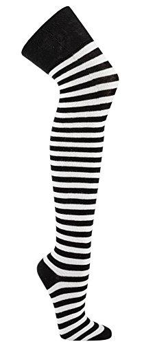 Krautwear® Damen Gestreifte Overknees Strümpfe Ringelstrümpfe Karneval Fasching Cosplay 80er Jahre (schwarz/weiss)