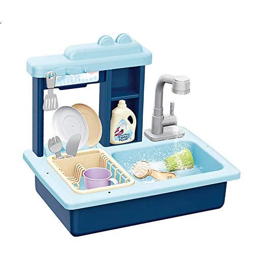 YQZ Kinderküche Spielwaschbecken Spielzeug, elektrische Spülmaschine, Spielhaus Rollenspiel Küchengarnitur, Küchenhelfer-Spielsets,Blau