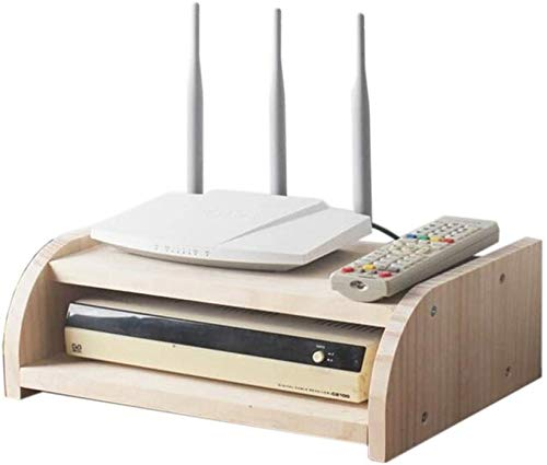 Cajas de almacenamiento enrutador WIFI, estante flotante de montaje en pared, estante de tv de televisor, bastidor de almacenamiento de madera, rack de almacenamiento de madera, capa única / doble cap