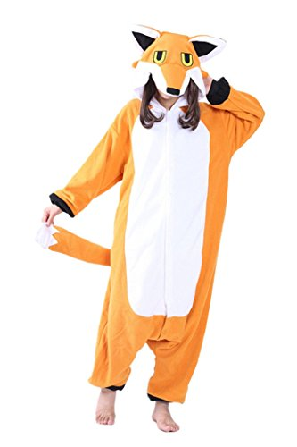 dressfan Pijamas de Animales Zorro Disfraces de Cosplay Adulto Unisex Zorro Pijamas Niño Adulto (XL, Orange)