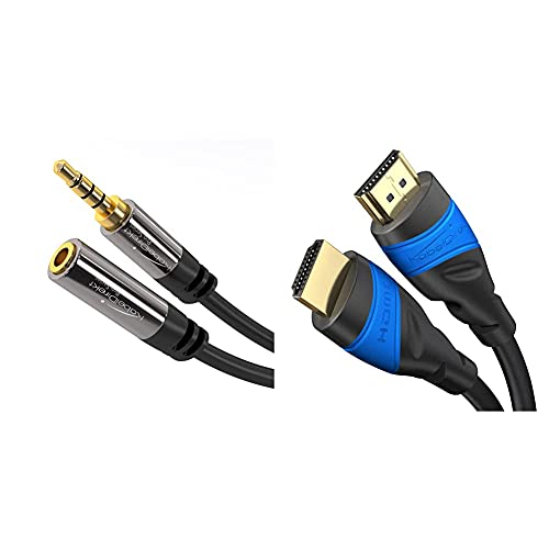 KabelDirekt B&le – 1 m – 4K HDMI-Kabel (4K@120Hz und 4K@60Hz, High Speed mit Ethernet, HDMI 2.0) & 3m Headset Verlängerung (3,5mm Stecker > 3,5mm Buchse, 4 Polig)