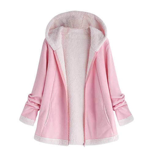 QingJiu Damen Hoodie Mantel Volltonfarbe Plüsch Jacke Mode Winter Tasche Strickjacken Oberbekleidung Reißverschluss Langarm Parka