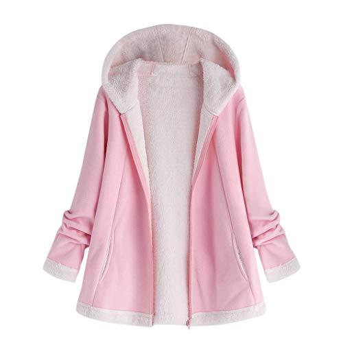 BOLANQ Mantel Jacke Coat Outwear Sweatshirt, Damenmode Winter Tasche Reißverschluss Langarm Plüsch Hoodie Mantel(Large,Rosa)