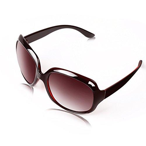 Sonnenbrillen Frauen Polarisiert Großer Rahmen, Anti-Reflexion 100% UV 400 Augenschutz Stilvolle Oversized Lässige Brille - BLDEN