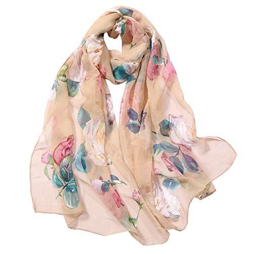 YALI Florak Imprimir Bufandas Seda Bufanda Moda Mujeres Rosas Impresión Largo Soft Wrap Wrap Symation Silk Shaw Shaw Bufanda Bufanda Bufanda Cuello Piel Empacada Shafl Wrap 210822