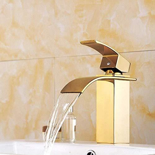 PJPPJH Splendida Cascata Bagno lavabo Mono Blocco Ottone Massiccio Rubinetto Miscelatore Caldo Freddo Guardaroba lavabo lavabo Miscelatore Rubinetto Cromato Bagno Moderno