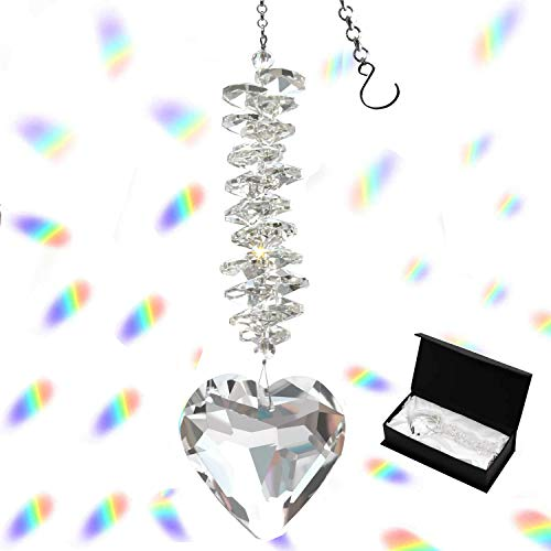 Togetherlife 45mm/177Inch Heart Glass Crystal Ball Prism Pendant Crystal Suncatcher Clear Faceted Crystal Ornament Rainbow Maker for Windows Outdoor Garden Hanging DécorClear