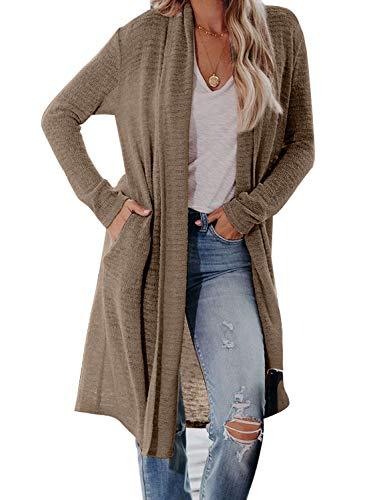 Sidefeel Women Open Front Long Sleeve Knit Drape Lightweight Cardigan Outwear Medium Brwon