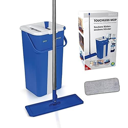 Mediashop Livington Touchless Mop – Bodenwischer Set mit Eimer zum Auswringen ohne Bücken – Wischmopp für einfache Reinigung und saubere Hände – 2,7L Wischeimer