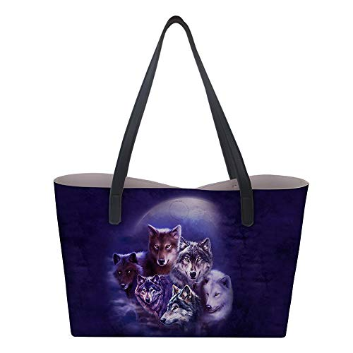 Womens Shouler Bag, Hiser PU Leather Tote Bag 3D Reversible Printed Stylish Large Ladies Handbag for Laptop Travel Work School Shopping 38x12x33cm - 3D Moon Wolf Print (5)