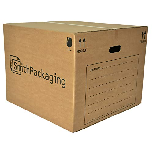 SmithPackaging 10 Extra Large Double Wall Cardboard Packing Moving House Boxes 53cm x 53cm x 41cm with Carry Handles and Room List