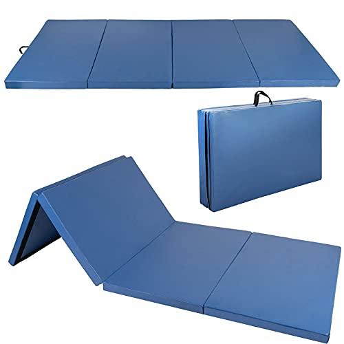 Polar Aurora 4'x10'x2 Thick Folding Gymnastics Exercise Mat Aerobics Stretching Yoga Mats (Blue)