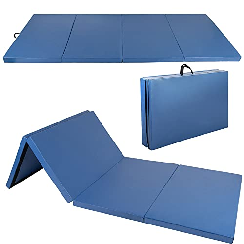 Polar Aurora 4'x8'x2 Multipe Colors Thick Folding Gymnastics Gym Exercise Aerobics Mats Stretching Fitness Yoga 10 Colors (Blue)