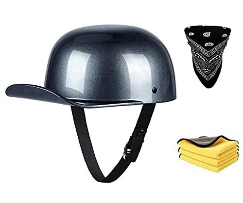 Casco retro de moto estilo vintage abierto para hombres y mujeres, aprobado por DOT/ECE, gorra de béisbol, estilo cruiser, chopper, ciclomotor, scooter, ATV, (B, M)
