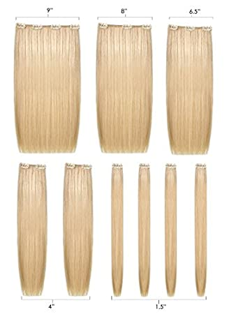 Amazon Com Human Hair 9 Piece Clip In Extension Set She By Socap Usa Made In Italy Ash Light Blonde 10 Beauty