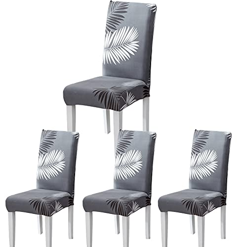 Fundas Sillas de Comedor, Fundas para Sillas Pack 4/6 Fundas Sillas Ajustables Elásticas Chair Covers Modernas Lavables para Banquetes Oficina Hogar Restaurante Bar (Moderno A, Pack 4)