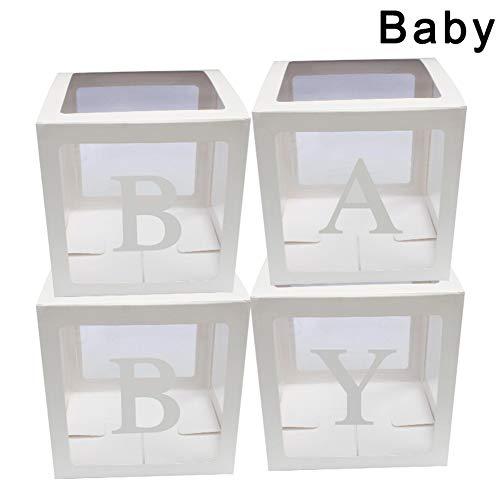 Poitwo - Set di 4 scatole per Palloncini, in Cartone Trasparente, Ideali Come Regalo di Natale, Bianco, Bambino