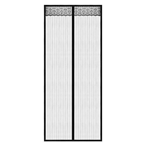 Magnet Fliegengitter Tür Magnet Insektenschutz Tür, Anti-Riss-verstärktes Oberteil, Rahmen-Klettverschlüsse für Balkontür Wohnzimmer Terrassentür, Klebemontage Ohne Bohren (90 x 210 CM)