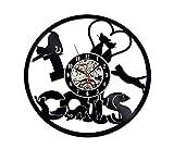 wtnhz Reloj de Pared con Disco de Vinilo LED Reloj de Vinilo de 12' Movimiento de Cuarzo Retro, Reloj de Pared, decoración del hogar